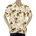 RMC Martin Ksohoh Mens Regular Fit Short Sleeve Shirt in Yellow with Japanese Ghost Print REDM0909