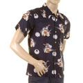 RMC Jeans Regular Fit Navy Short Sleeve Shirt with Human Head Bird Body Print REDM0908