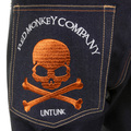 RMC Martin Ksohoh MKWS Model 1001 Burnt Orange Skull and Crossbones Raw Denim Slim Fit Jeans REDM1153
