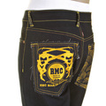 RMC Model 1001 Slimmer Cut Yellow Logo and Tsunami Wave Dark Indigo Selvedge Raw Denim Jeans REDM0176