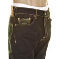 RMC Jeans Dark Indigo Green Logo and Tsunami Wave 1001 Slimmer Cut Raw Selvedge Denim Jeans REDM0096
