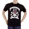 RMC Regular Fit Crew Neck Smoking Skull and Crossbones Printed T-Shirt in Black REDM2092