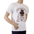 RMC Regular Fit Crew Neck Short Sleeve White T Shirt with Smoking Skull and Crossbones Print REDM2091