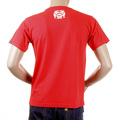 RMC Short Sleeve Regular Fit Red Crew Neck T-Shirt with Smoking Skull and Crossbones Print REDM2090