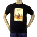 RMC Jeans Regular Fit Short Sleeved Black Crewneck T-shirt with Camel Cigarette Packet Print REDM1163