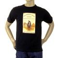 RMC Jeans Regular Fit Short Sleeved Black Crewneck T-shirt with Camel Cigarette Packet Print REDM1163