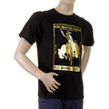 RMC Jeans Crewneck Regular Fit Gold Foil Cowboy Rodeo Printed Short Sleeved Black T-Shirt REDM2089