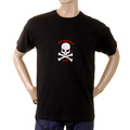 RMC Jeans Crew Neck Black Short Sleeve T-Shirt with Flock Printed White Skull and Crossbones REDM2116