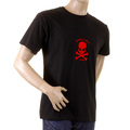 RMC Crew Neck RQT1056B Red Flock Printed Skull and Crossbones Short Sleeve Regular Fit Black T-Shirt REDM2120