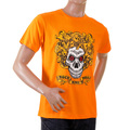 RMC Jeans Short Sleeve RQT1047 Regular Fit Rock and Roll Printed Skull Crew Neck T-Shirt in Orange REDM2093