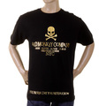 RMC Jeans Short Sleeve RQT1055 NYC Gold Skull Regular Fit Crew Neck Printed T-Shirt in Black REDM2127