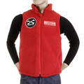 RMC Martin Ksohoh Red Plush Fleece Sleeveless Regular Fit Papamamason Vest Gillet for Men REDM5828