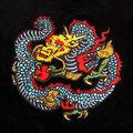 RMC Jeasn Mens Black Velvet Regular Fit Hooded Zip Up Jacket With Empire Dragon Embroidery REDM2355