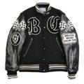 Whitesville Letterman WV11375 Black Body Black Raglan Sleeve Crank Buster Regular Fit Jacket WHIT3781A
