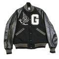 Sugar Cane Mens WV11376 Black Regular Fit Raglan Sleeve Good Timers Letterman Jacket WHIT3782