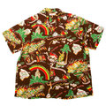 Sun Surf Mens SS33324 Hawaiian Brown Regular Fit Short Sleeve Cuban Collar Shirt with History of the Islands Print SURF9049