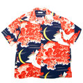 Sun Surf Mens SS33330 Vintage Hawaiian Navy Blue Short Sleeve Cuban Collar Shirt with Falcon and Aloha Moon Print SURF9054