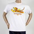 RMC Martin Ksohoh White Crew Neck RQT11024 Short Sleeve Regular Fit T-Shirt with Flying Tiger Print REDM0062