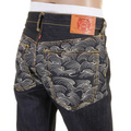RMC Martin Ksohoh Exclusive Off White Tsunami Wave Embroidered Dark Indigo Vintage Cut Raw Denim Jeans REDM1787