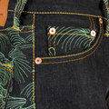 RMC Martin Ksohoh Authentic Green Tsunami Wave Embroidered Dark Indigo Vintage Cut Raw Denim Jeans REDM1881