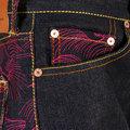 RMC Martin Ksohoh Authentic Fuchsia Tsunami Wave Embroidered Dark Indigo Vintage Cut Raw Denim Jeans REDM1911