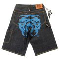 RMC Jeans LOGOA Super Exclusive Blue Painted Logo Denim Cargo Shorts for Men REDM3733