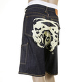 RMC Jeans Super Exclusive 100% Cotton Off White Painted Logo Denim Cargo Shorts For Men REDM3734