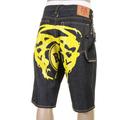 RMC Jeans LOGOA Super Exclusive 100% Cotton Yellow Painted Logo Denim Cargo Shorts for Men REDM3735