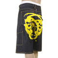 RMC Jeans LOGOA Super Exclusive 100% Cotton Yellow Painted Logo Denim Cargo Shorts for Men REDM3735