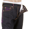 RMC Jeans Genuine Exclusive Vintage Cut Raw Denim Jeans with Violet Tsunami Wave Embroidery REDM6312