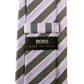 Boss Black lilac and grey striped Hugo Boss silk tie 50219666 BOSS0650