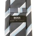 Boss Black grey with blue striped Hugo Boss silk tie 50219179 BOSS0638