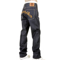 RMC X Yoropiko Mens Super Exclusive RQP11090 Chain Stitch Embroidered Indigo Raw Selvedge Denim Jeans REDM1210