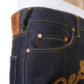 RMC X Yoropiko Mens Super Exclusive RQP11090 Chain Stitch Embroidered Indigo Raw Selvedge Denim Jeans REDM1210