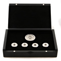 Yoropiko Copper Base Finished in 18 Carat White Gold Rhodium Plated Five Button Set with Gift Box YORO2395
