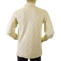 Evisu Rare Original Tattersall Regular Fit Long Sleeve French Cream Polo Shirt with Navy, Grey, and Green Check EVIS1061
