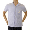 Evisu Rare Genuine Mens Short Sleeve Regular Fit Loom Service Shirt in Sky Blue EVIS0107