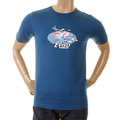 Evisu Mens Petrol Blue Cotton Crew Neck Short Sleeve Large Fitting T Shirt with Printed Evisu Air Lines EVIS0343