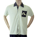 Evisu Genuine Rare Large Fitting Short Sleeve Deluxe Knitted Shirt with Soft Denim Pointed Collar EVIS2352