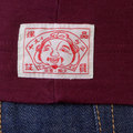 Evisu Bordeaux Early Original Long Sleeve Crew Neck Logo Insert T Shirt EVIS0045