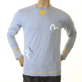 Evisu Early Rare Sky Blue Long Sleeve Large Fitting Crew Neck 5 Pocket T-shirt for Men EVIS1089