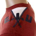 Evisu Early Genuine Brick Red Crew Neck Larger Fitting T-shirt with French Denim Cuffs EVIS1081