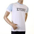 Evisu Mens Early Rare White With Sky Blue Crew Neck Short Sleeve Large Fit T Shirt With Faux IBM Print EVIS0230