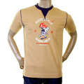 Evisu Mens Early and Original Camel Cotton Crew Neck Short Sleeve Large Fitting Sizzling Hot Denim Diner T Shirt EVIS0274
