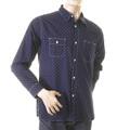 Sugarcane Fiction Romance SC25675A Navy Vintage Cut Regular Fit Long Sleeve One Wash Work Wear Shirt CANE2728