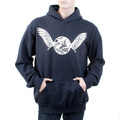 RMC Martin Ksohoh Large Fitting Navy Cotton Hooded Sweatshirt with Ecru Freedom Crane Print REDM1023
