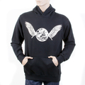 RMC Martin Ksohoh RWC141264 Long Sleeved Regular Fitting Black Hooded Sweatshirt with Ecru Freedom Crane Print REDM1027