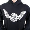 RMC Martin Ksohoh RWC141264 Long Sleeved Regular Fitting Black Hooded Sweatshirt with Ecru Freedom Crane Print REDM1027