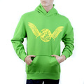 RMC Jeans RWC141264 Regular Fitting Long Sleeve Lime Green Hooded Sweatshirt with Yellow Freedom Crane Print REDM1024
