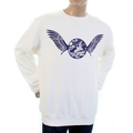 RMC Martin Ksohoh RWC141262 White Large Fit Long Sleeve Crew Neck Sweatshirt with Navy Freedom Crane Print REDM1029